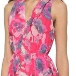 Rebecca Taylor Silk.Garden Print Dress w/ Gut Out